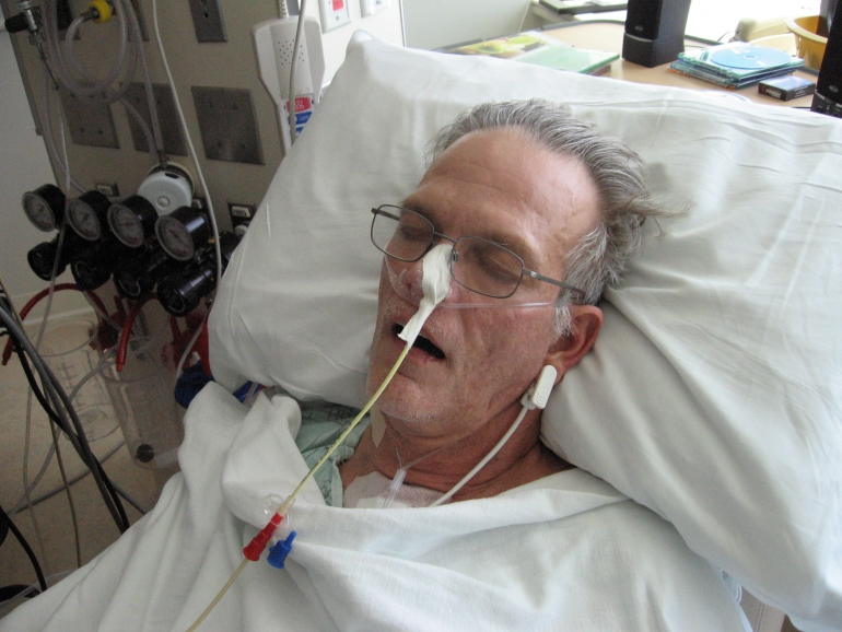 Pete five days after his heart transplant